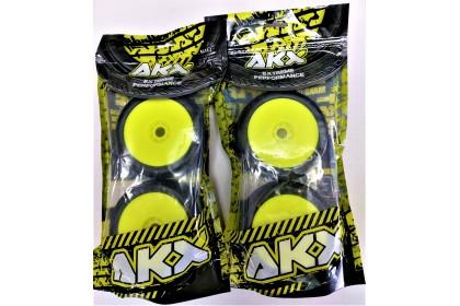 AKX EXTREME PERFORMANCE #6007 BUGGY SOFT TIRES & YELLOW RIMS 4PCS IMPACT (PRE GLUED)